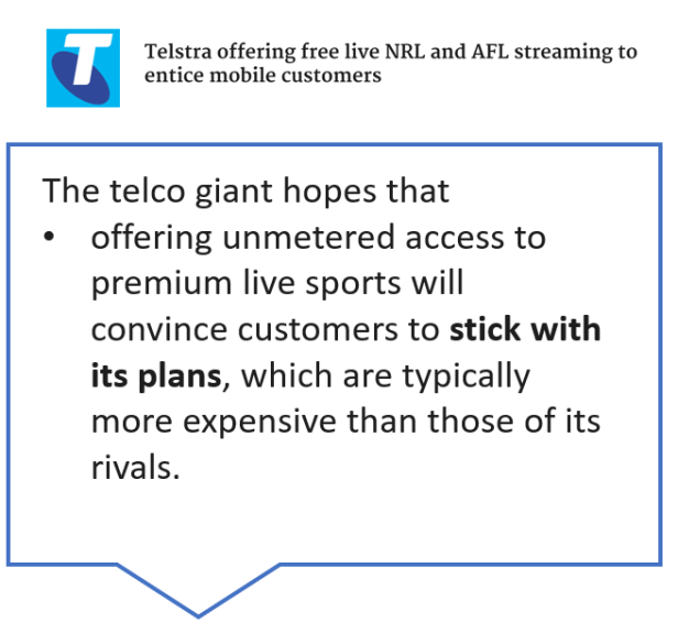 Telstra offering free live NRL. and AFL streaming to entice mobile customers